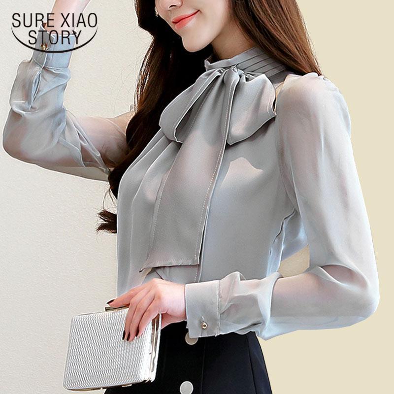 Autmun longa da luva da forma das mulheres das mulheres tops e blusas 2018 arco sólida destacam blusas escritório colarinho mulheres blusas 1286 40