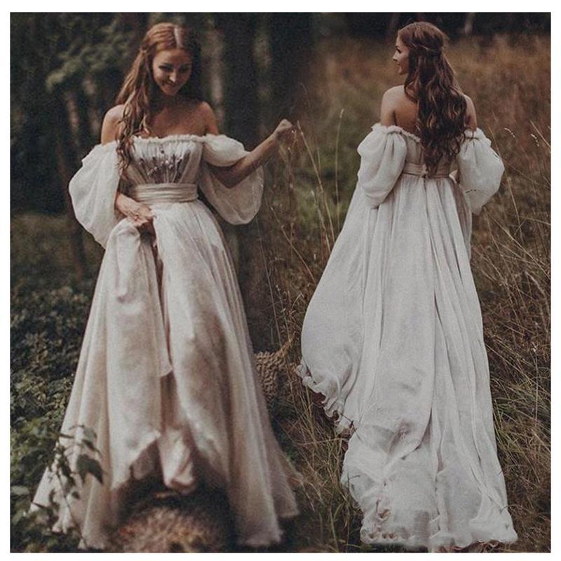 Fora do ombro A Linha Boho vestido de casamento Querida Appliqued Puff mangas compridas vestido de noiva sem encosto Counrty do vestido de casamento