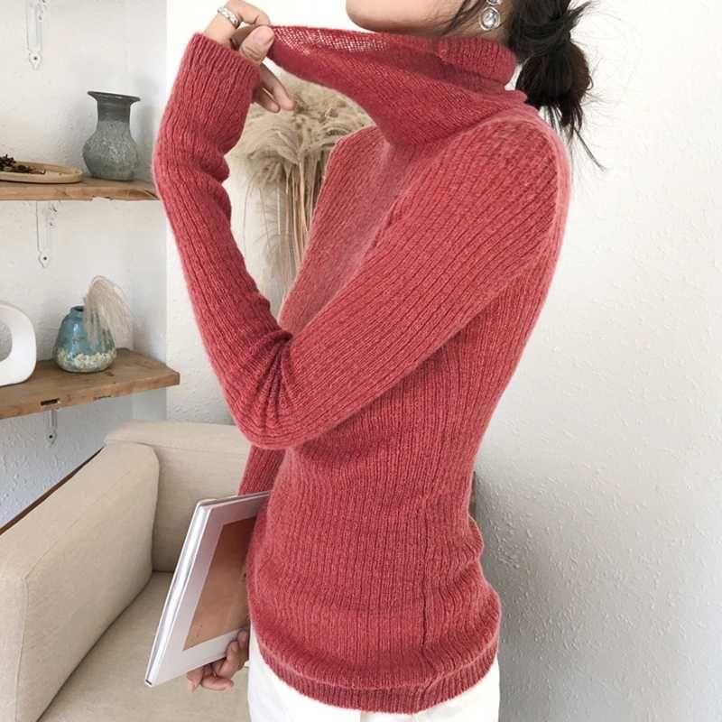 Ailegogo Printemps femmes minces Pull à col roulé en tricot Casual Femme Slim Fit overs coréenne style dames Hauts Knitwear