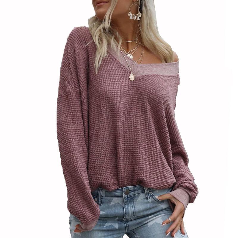 BHflutter Sweater Women 2019 Fashion Schulterfrei Strickpullover Tops V-Ausschnitt Lässig Herbst Winter Pullover swetry damskie