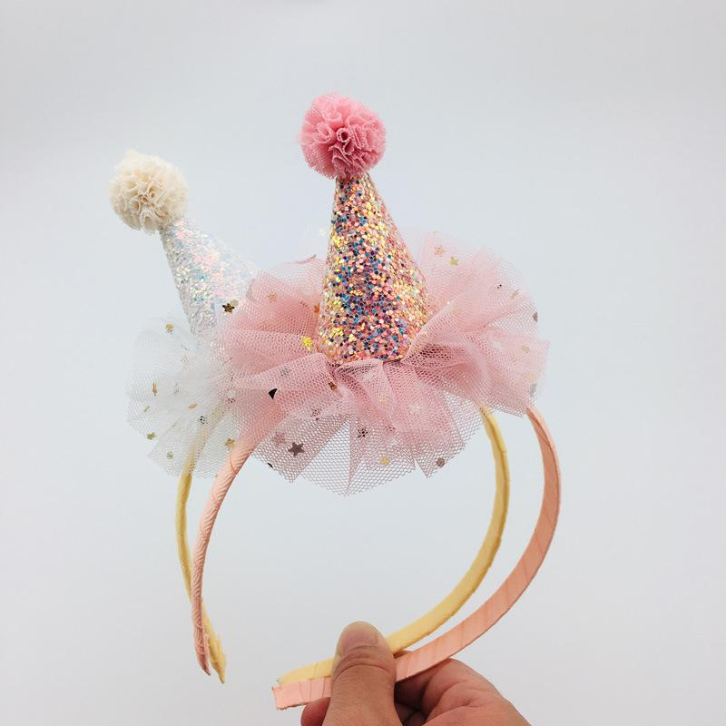 New Korean baby birthday party Girls Hair Sticks floral Baby Headbands sequin kids Hair Bands chiffon Flower Children Hair Accessories A2124