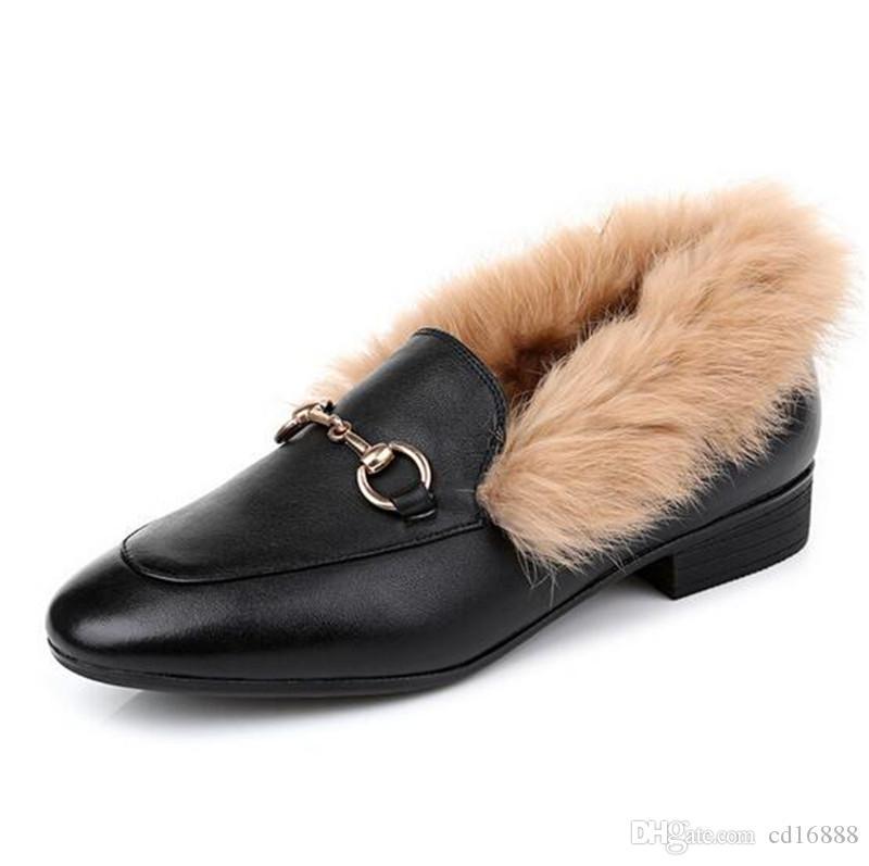 Top + piel de vaca de conejo Rex zapatos de moda las mujeres de piel 2020 nuevos zapatos de invierno otoño grueso con zapatos bajos del talón de gran tamaño comodidad elegante zapato caliente
