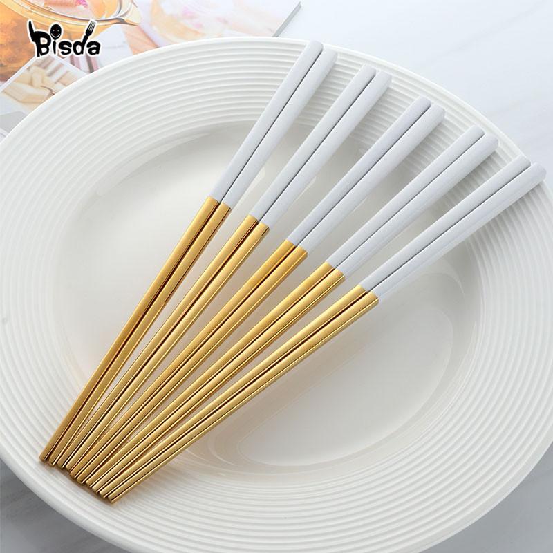 5 paires en acier inoxydable Chopsticks Titanize chinois d'or chopsitcks bâtons par Noir Métal Chop Sushi Set Utilisé pour T200227 Vaisselle
