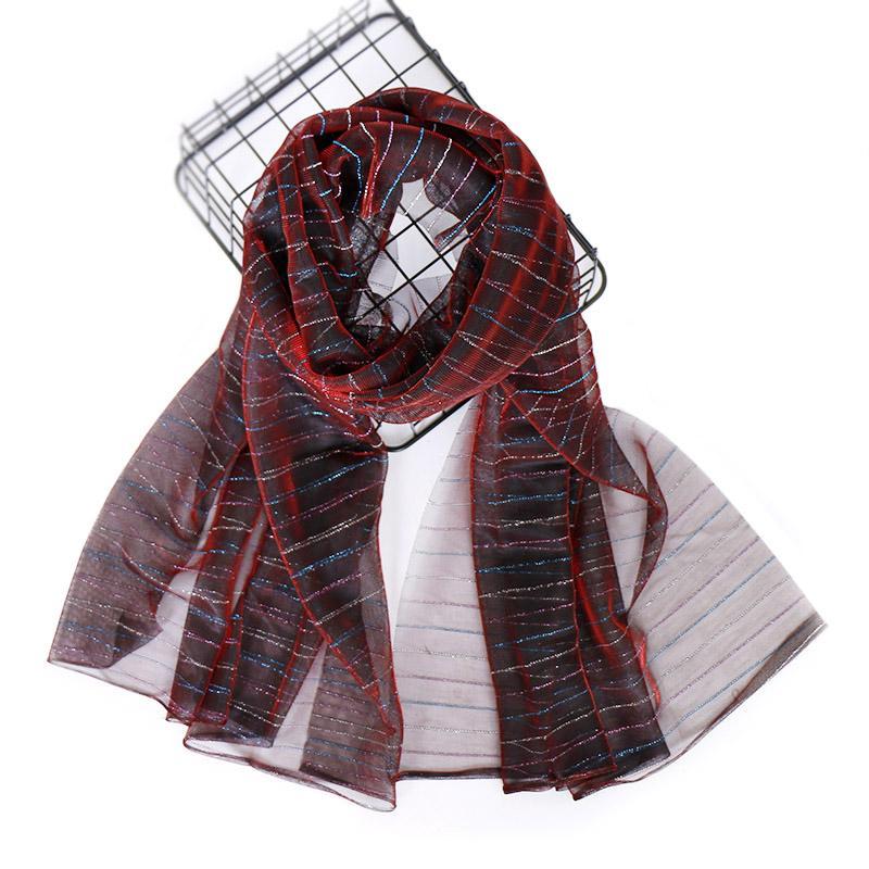 NEW Lurex Funkeln Frauen Schal Leichte weiche Streifen Schal elastische Schal Art und Weise Knitter-Schalldämpfer Halstuch 20pcs / lot