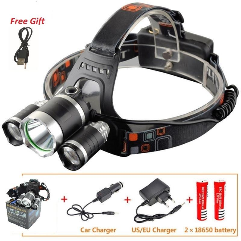 2019 CREE XML T6+2R5 LED Headlight Headlamp Head Lamp Light 4mode torch +2x18650 battery+EU/US Car charger for fishing Lights