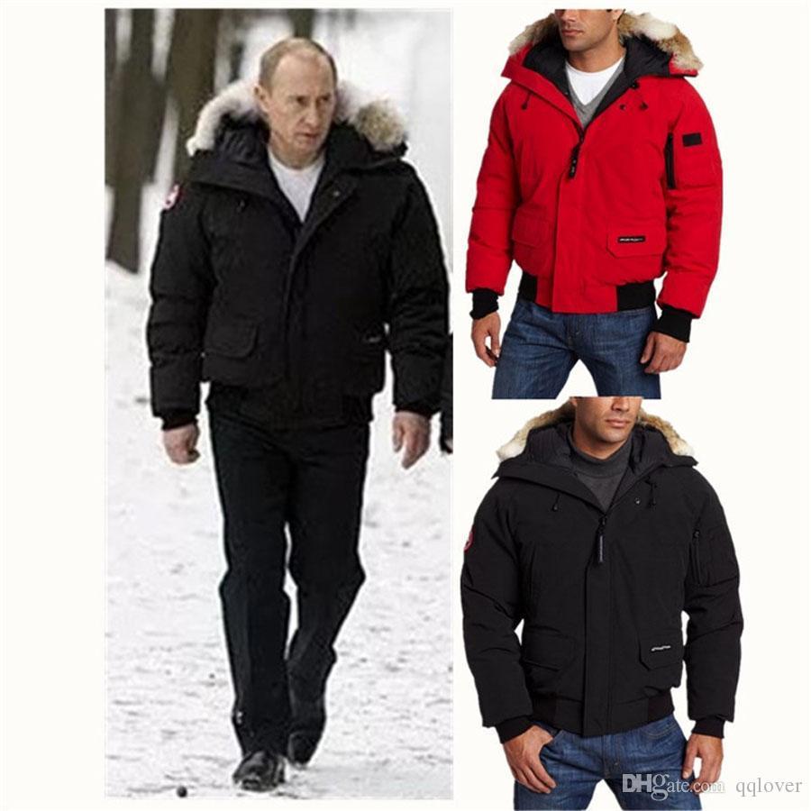 Горячие Марка Canadas Мужчины Вниз Parka Jacket Real Fur Camouflag Теплый Открытый Coat ветрозащитный водонепроницаемый Толстая короткая куртка