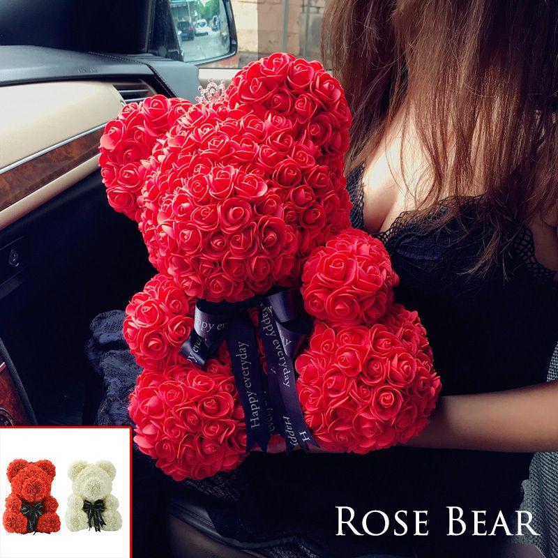 2018 Envío de Gota 38 cm Gran Oso de Peluche Rojo Flor de Rosa Regalos de Navidad Artificiales Para Mujeres Regalo del Día de San Valentín