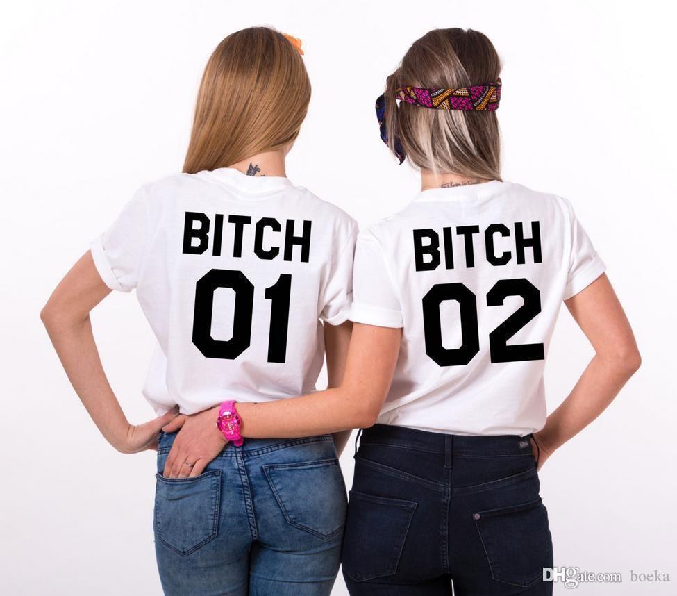 Сука 01 Bitch 02 назад Письма печати Женщины футболки хлопок Повседневный Смешной рубашка для Lady Top Tee Hipster