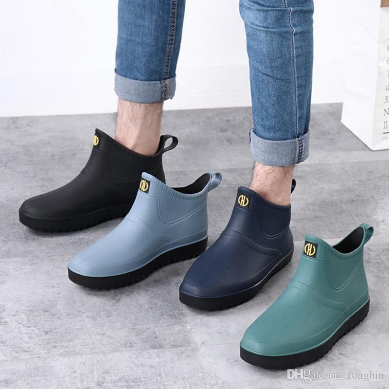 أحذية المطر من الأحذية قصيرة المطبخ الأحذية المطاطية عدم الانزلاق أحذية لينة مع باطن الأزياء التأمين ملابس العمل أحذية للماء للجنسين