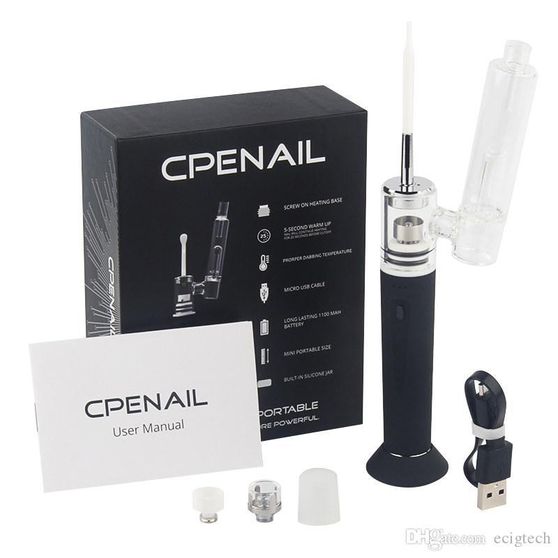 CPENAIL Dab Cera vaporizzatore Pen Starter Kit 1100mAh Batteria al quarzo H Nail Dabber ceramica Rig Titanium elettrica portatile Glass Bong
