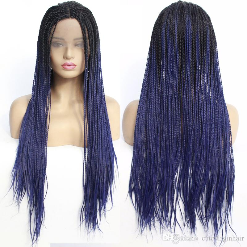 Two Tone Ombre 1B/Purple Twist Lace Front Wigs Synthethic Heat Resistant Hair Half Hand Tied Braided Wigs Free Part for black women