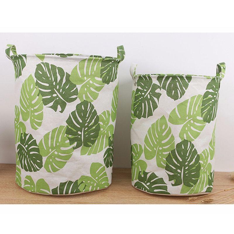 Su geçirmez Çamaşır Sepet Katlama Giysi Saklama Sepetleri Yeşil Yapraklar Ev Dekorasyon Depolama Namlu Organizatör Basket