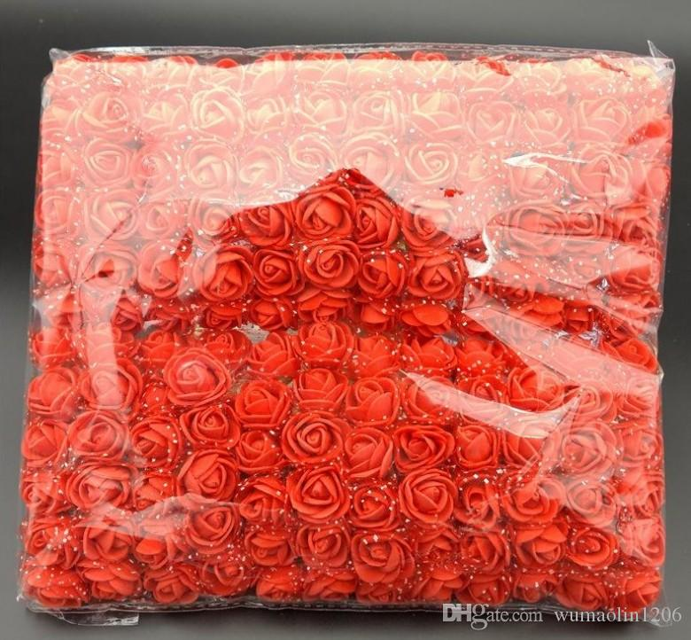 Simulation Foamed Flower Head Mini Artificial Rose Flowers Multi Color Creative Wedding Candy Box Parts New 5 39lb ii