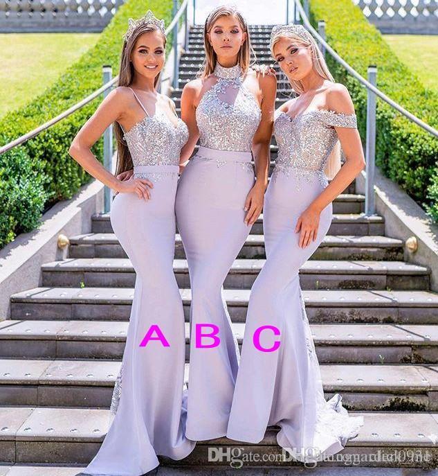 Neue Mischtilen Mermaid Brautjungfer Kleider Lavendel Perlen Appliques Spitze von der Schulter Halfter Gurten Bodenlangen Hochzeit Gastkleid
