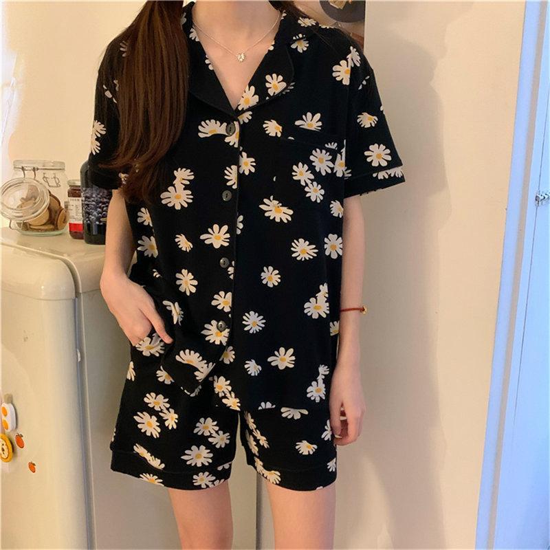 Yeni Siyah Daisy Baskılı Ev Giyim Şık tatlı Yüksek Kaliteli 2020 Retro Sevimli pijamalar Şık Vintage Pijama Takımları