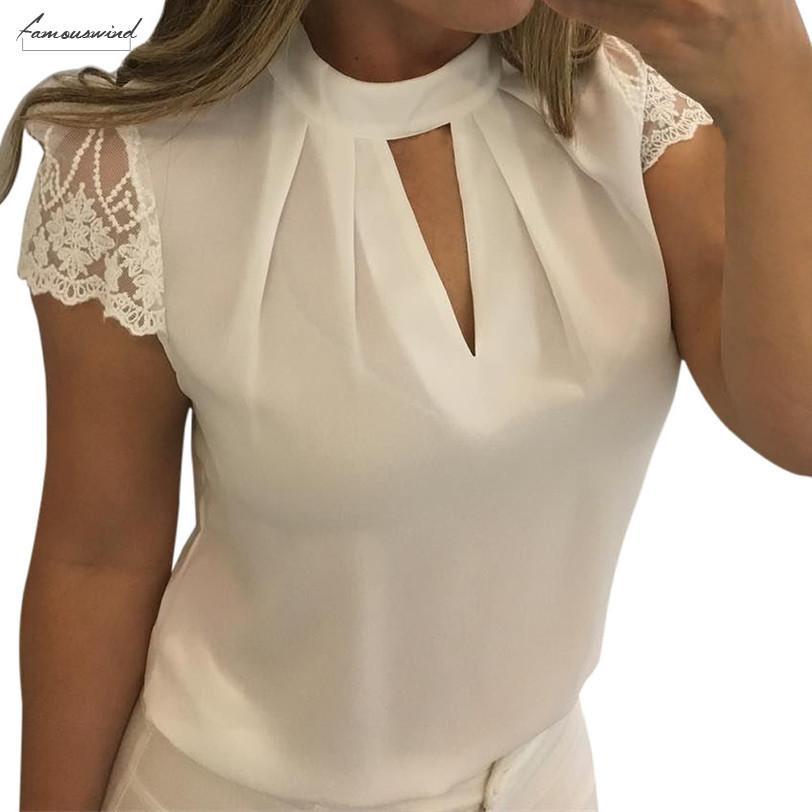 Blouses 5Xl Plus Size Blouse Women Sexy Chiffon White Shirt Casual Hollow Short Sleeve Splice Lace Crop Top Blouse Shirts7 L2