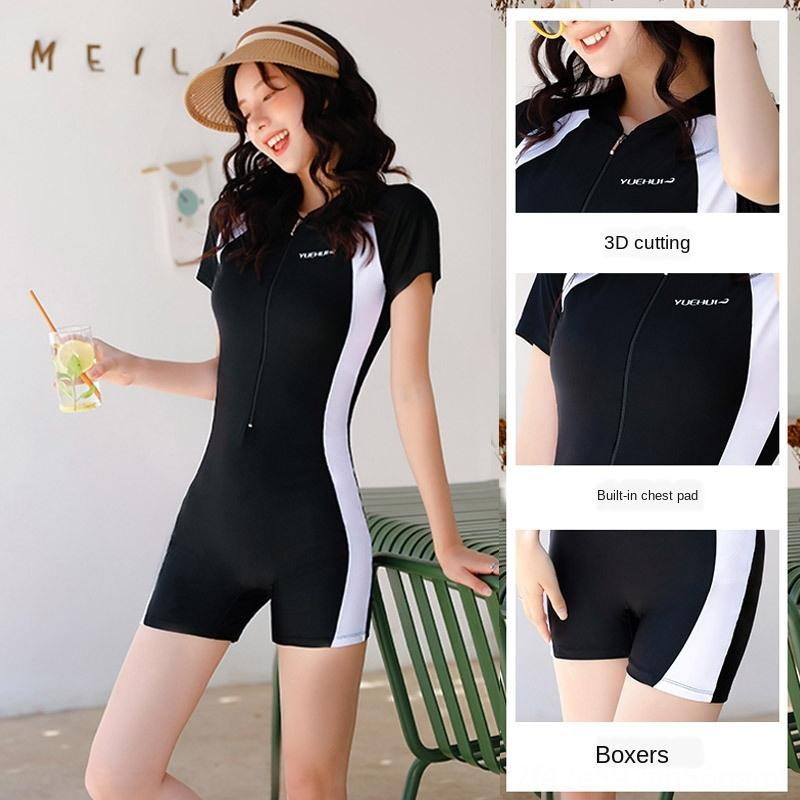 Swimsuit female Conservative pants Swimsuit jumpsuit belly covering slim Student conservative hipster ins flat angle fat mm jumpsuit