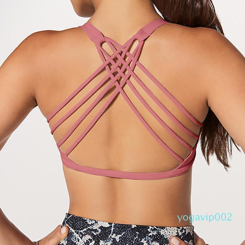 Women Sports Bra Shirts Yoga Gym Vest LU-47 Push Up Fitness Tops Sexy Underwear Lady Tops Shakeproof Adjustable Strap Bra