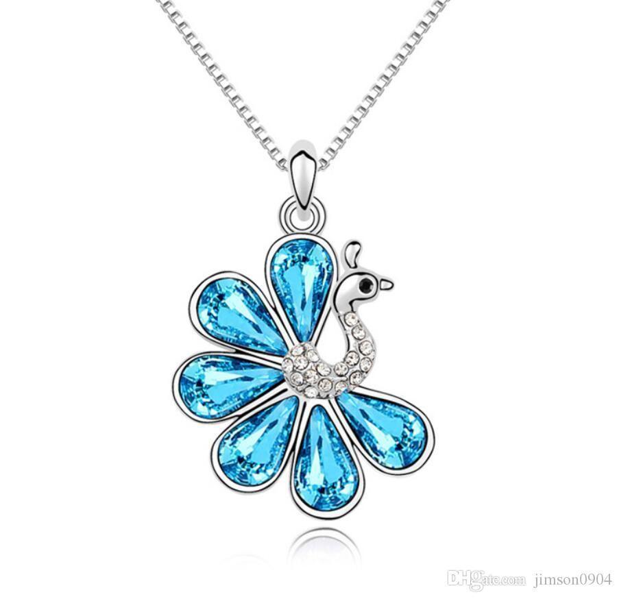 moda Originalidade elementos de jóias colar de cristal Swarovski Áustria Pingente Pavão amor étnica estilo pingente Enfeites para a mulher feminina