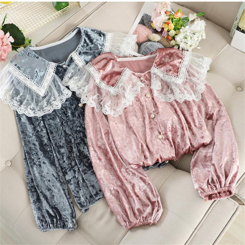 Spring Autumn Women Long Sleeve Blouse Sweet Lace Patchwork Velvet Blouses Female All Match Peter pan Shirts Short Tops AB1772