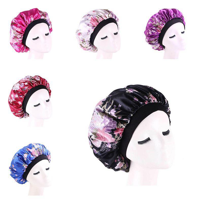 Satin Hair Capó para dormir casquillos de ducha seda Tapa Tapa Femme Mujeres sueño de la noche Tapa cabeza ancha Elastic Band #
