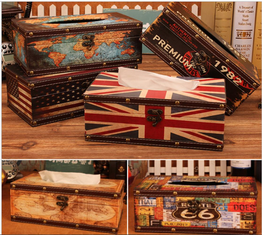 Antique Wooden Tissue Box Cover Retro Napkin Paper Towel Holder Case Home Decor