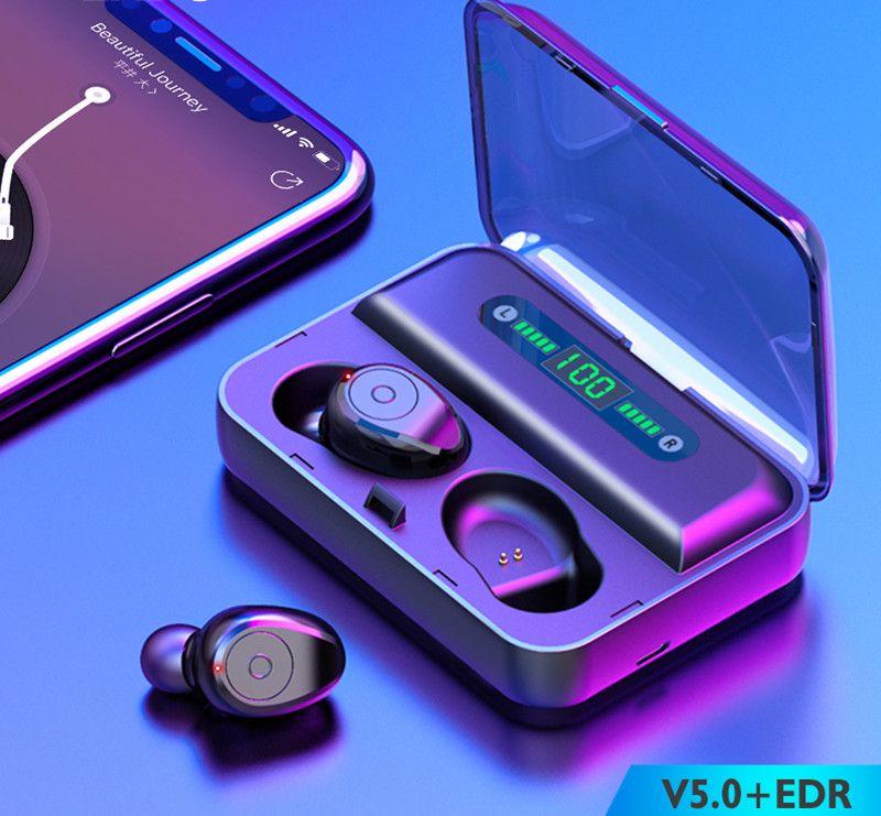 1200MAH 전원 은행 헤드셋과 마이크가 TWS F9 F9-5 무선 이어폰 블루투스 5.0 미니 스마트 터치 이어 버드 LED 디스플레이