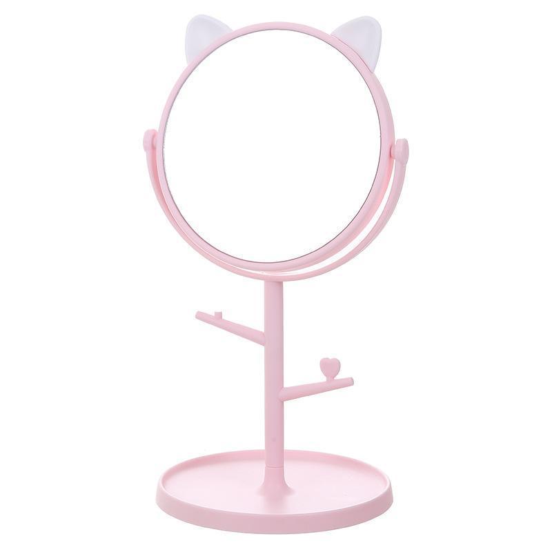 الجديد وحيد الجانب القط الجدول الأذن المكياج مرآة 360 درجة تناوب التخزين مرآة جولة قاعدة المعلقة مجوهرات انفصال مرآة