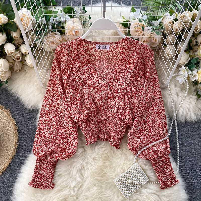 2020 Nouvelle mousseline de soie shirt col en V élégant de robe de printemps Femmes Mode manches chauve-souris de style occidental Floral Top