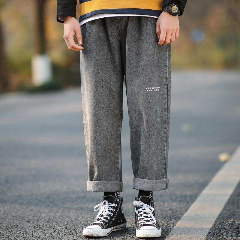 0LJQ7 floja 2020 de los hombres de gran tamaño Lianxu y casual Lianxu 2020 recta de gran tamaño de los hombres flojos y los pantalones vaqueros casuales jeans rectos