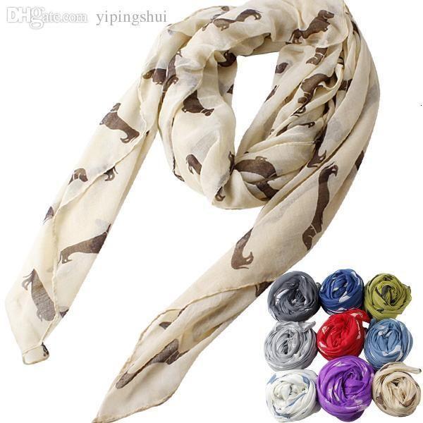 Wholesale-HOT New Fashion Oversized Women Neckerchief Dog Dachshund Animal Pattern Print Comfortable Shawl Scarf Cape Neck Wrap Scarves