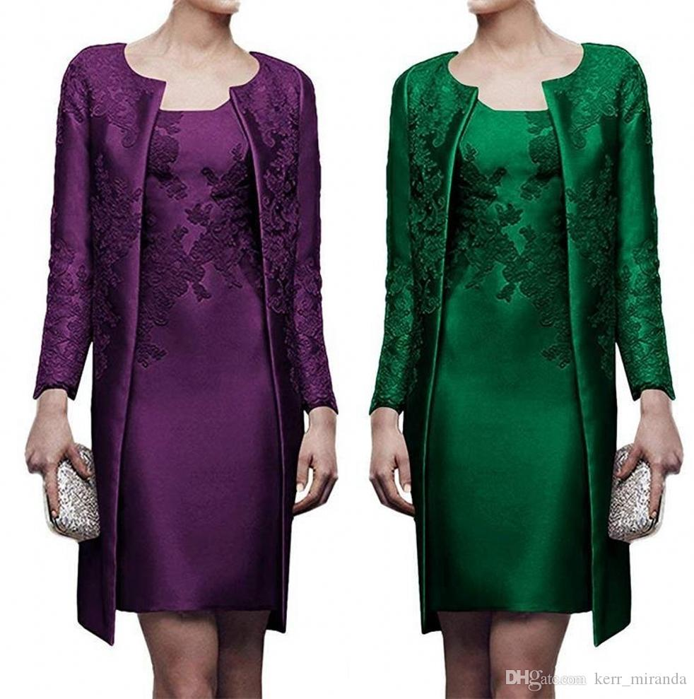Verde oscuro longitud de la rodilla a corto madre del vestido de novia con la chaqueta de la capa de raso madre larga de la manga del cordón del novio de vestidos de novia vestidos de partido