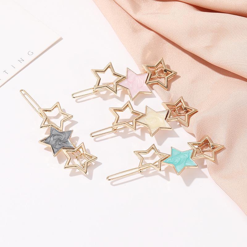 S1229 Hot moda jóias bonito Five Star Hairpin Sweet Girl barrete clipe hairpin cocar cabelo Bobby Pin Acessórios Clipe