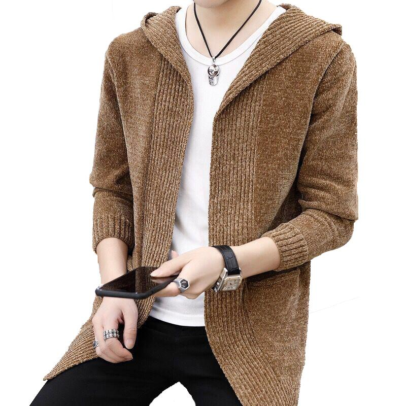 Men's Spring Hooded Knit Sweater Men Cardigan New Style Mens outwear Autumn sweater Jacket Solid Long Sleeves