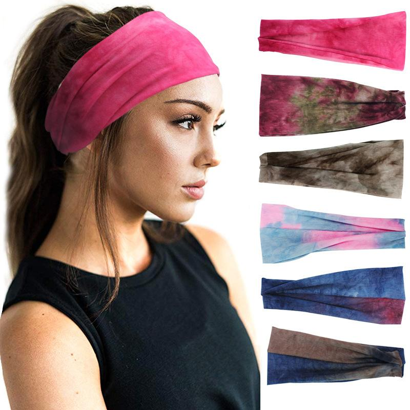 Women's Tie Dye Elastic Headband Summer Sports Cotton Soft Stretch Turban Headband For Girls Flat Hair Bands Hair Accessories