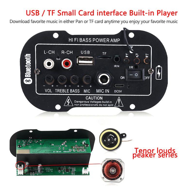7.4V 자동차 블루투스 하이파이베이스 파워 AMP 미니 자동차 라디오 오디오 디지털 USB TF AMP 원격 제어 MP3 플레이어