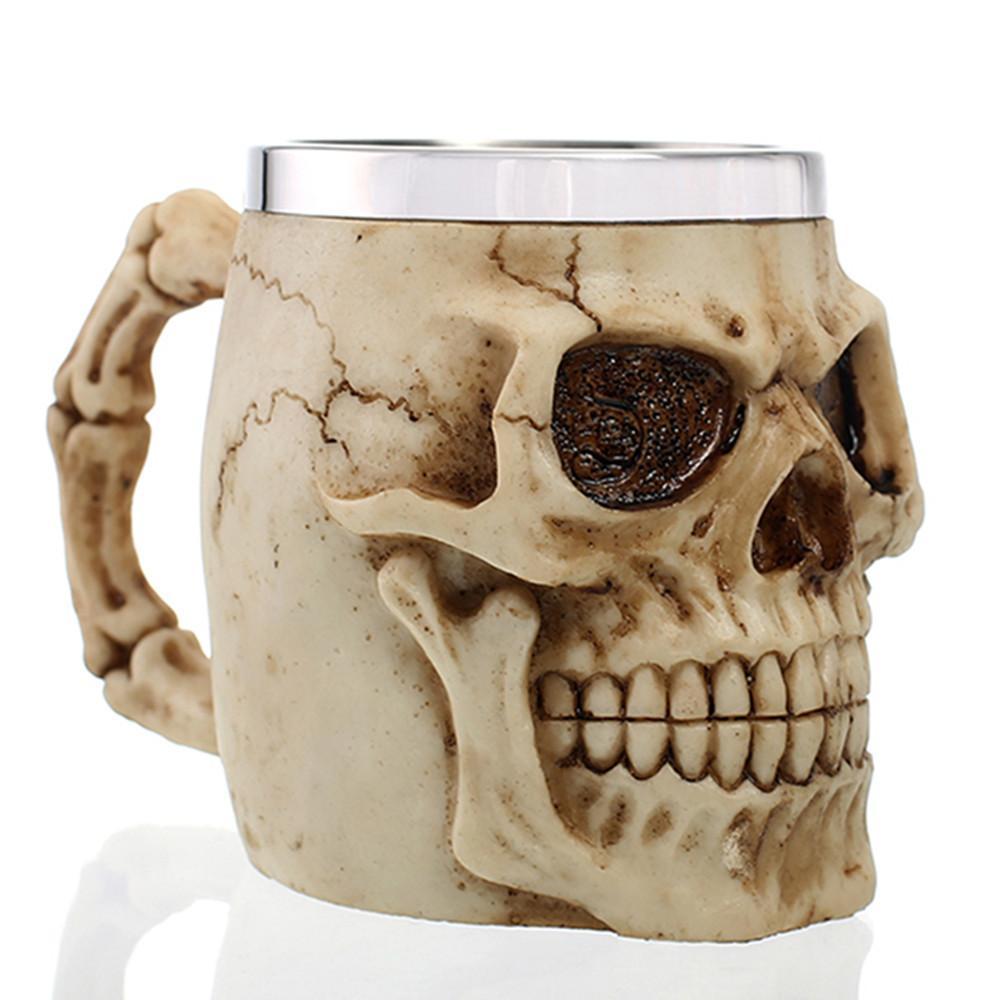 3d Horror Skull Mug Beer Mugs Resin Stainless Steel Material Coffee Tea Water Beer Drinkware Home Bar Party Gift For Men