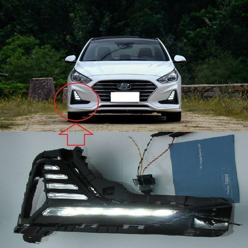 Hyundai Sonata için 2018 2019 + far sis Işıklar DRL Sis Lambaları kapak LED farlar gün ışığı Koşu beyaz LED gündüz farları
