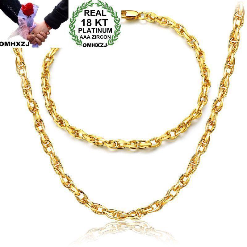 OMHXZJ بالجملة الأزياء الشخصية هدية حزب مان الذهب جولة الدوائر سلسلة 18KT الذهب سوار + قلادة مجموعة مجوهرات SE37