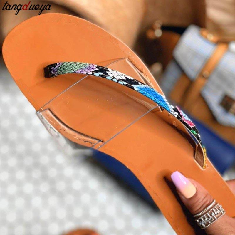 modello del serpente pantofole pistoni che femminili sexy 2020 di nuova estate esterno fogli mobili piatto trasparente flop spiaggia 37-42