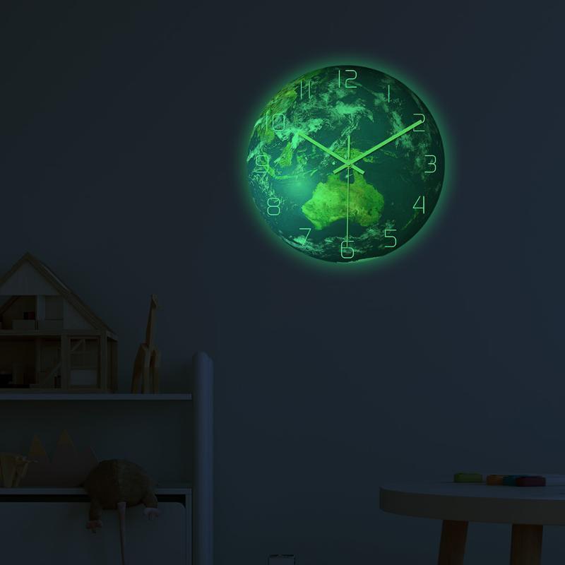Reloj de pared luminosa Tierra Oceanía acrílico Material silencioso Movimiento de reloj local decoración de la pared