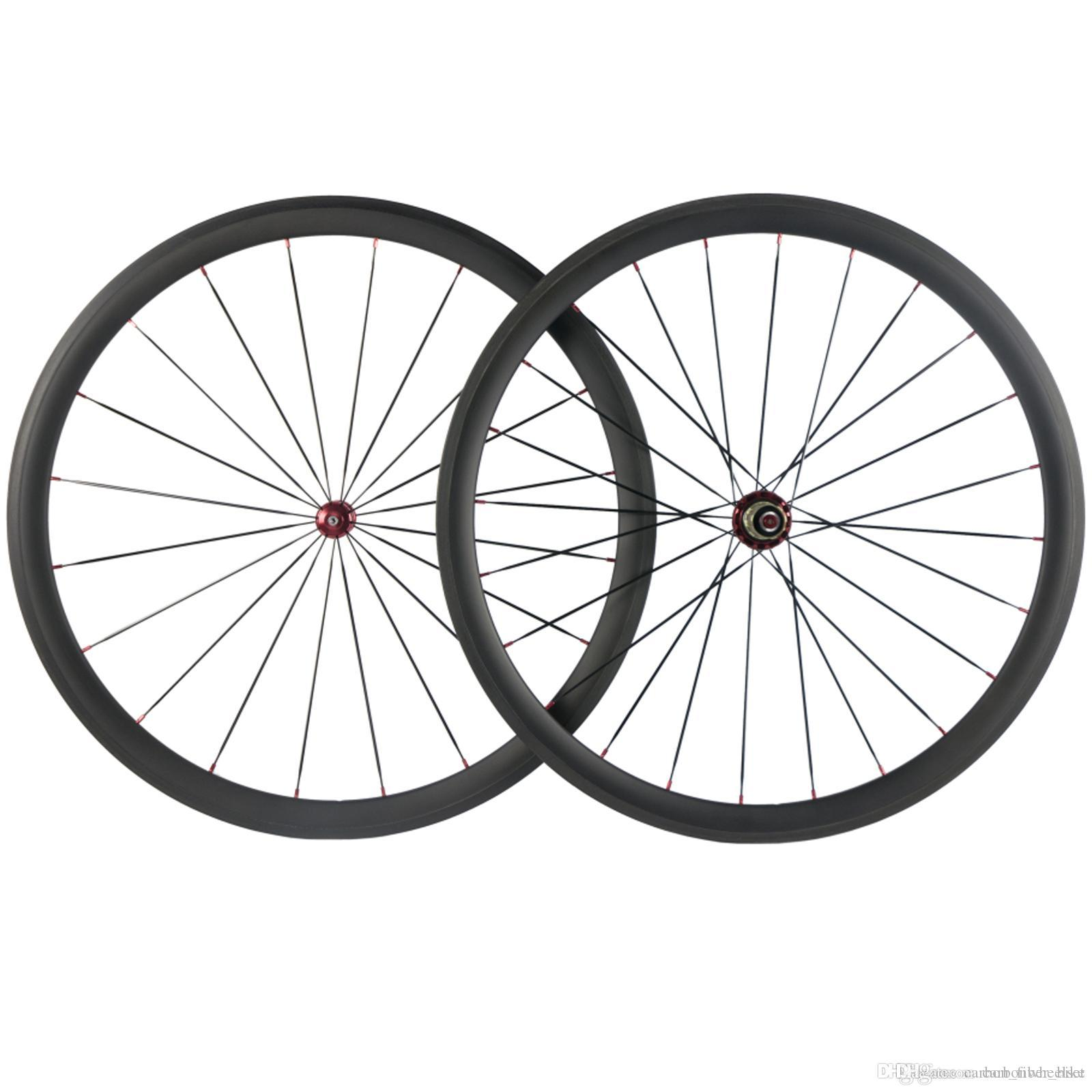 700C Clincher 38mm Carbon Wheelset Road Bicycle UD Matte Carbon Wheels Red R36 Hub Red Nipples 25mm Width