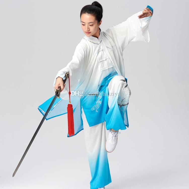 여성 남성 소년 소녀 아이 성인을위한 중국어 태극권 의류 태극 검 의류 쿵후 운동 기공 성능 정장 크레인 자수