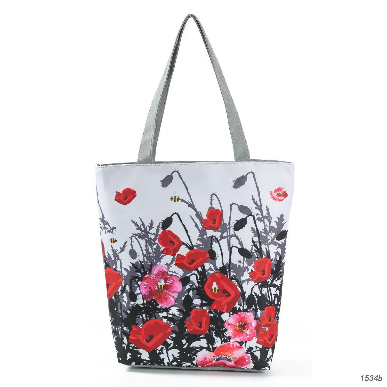 독창성 기금 잉크 그림 꽃 쇼핑 가방 열 판매 꽃 인쇄 단일 어깨 패키지 여자