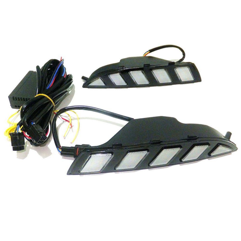 Funda de luces de funcionamiento diurnas LED para VW Scirocco 2008-14, LED 6000K White DRL + ICE AZUL NUCHE DRL + Streamer amarillo Turn Signals