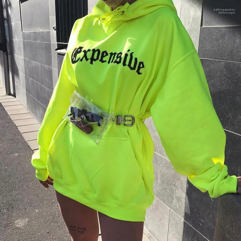 Casual fluorescencia de color impresa letra sudadera con capucha de otoño del resorte suéter con capucha de las mujeres de la calle del estilo de diseñador de las mujeres sudaderas de Fashoin