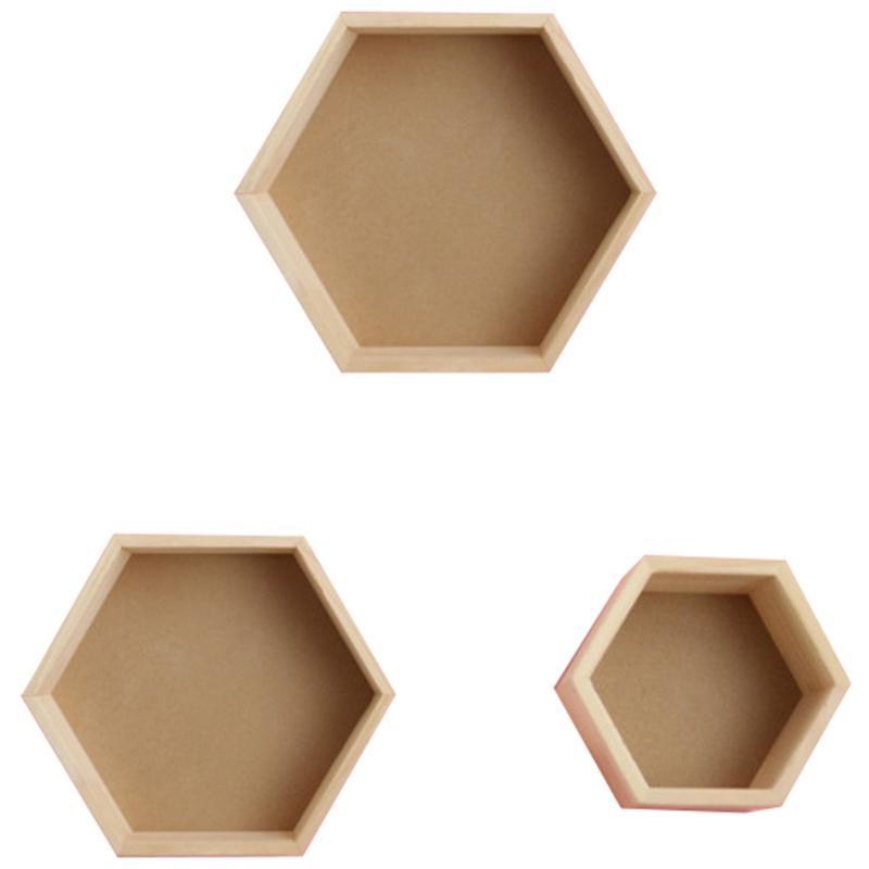 3pcs / Set Nordic Style Kids Room Decoration Shelf Honeycomb Hexagon Rosf for Baby Bedroom Decoration-Wood