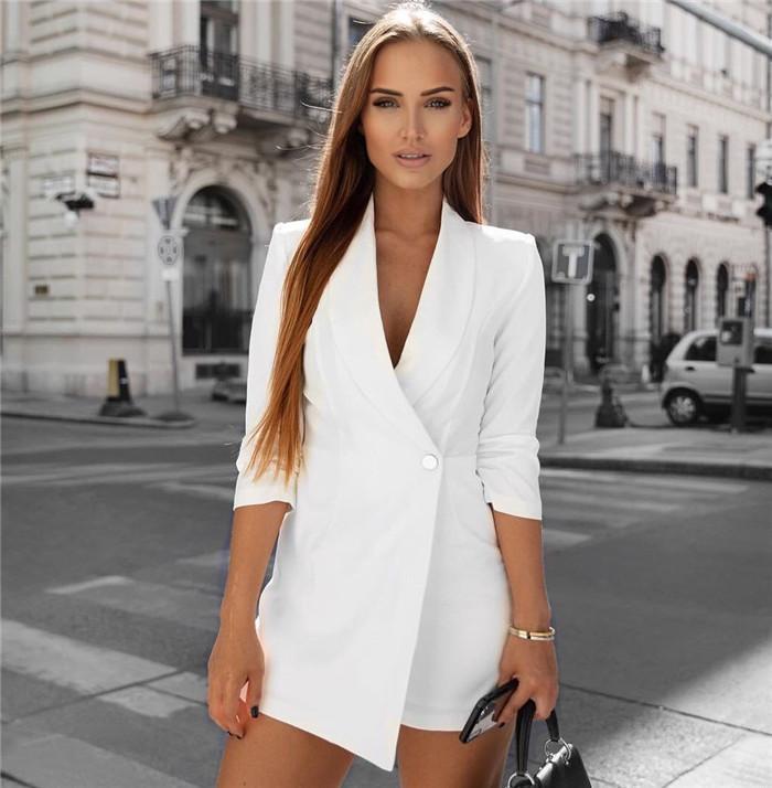 المرأة الحلل حللا أزياء مثير الربيع التلبيب الرقبة حللا 3/4 كم والسروال تنورة السيدات السروال القصير