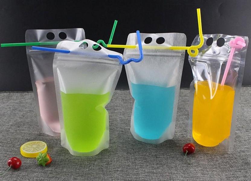 FedEx / DHL Drink Pouches Tassen Frosted Rits Stand-Up Plastic Drinktas met stro met Houder Reclosable Heat-Proof 17oz