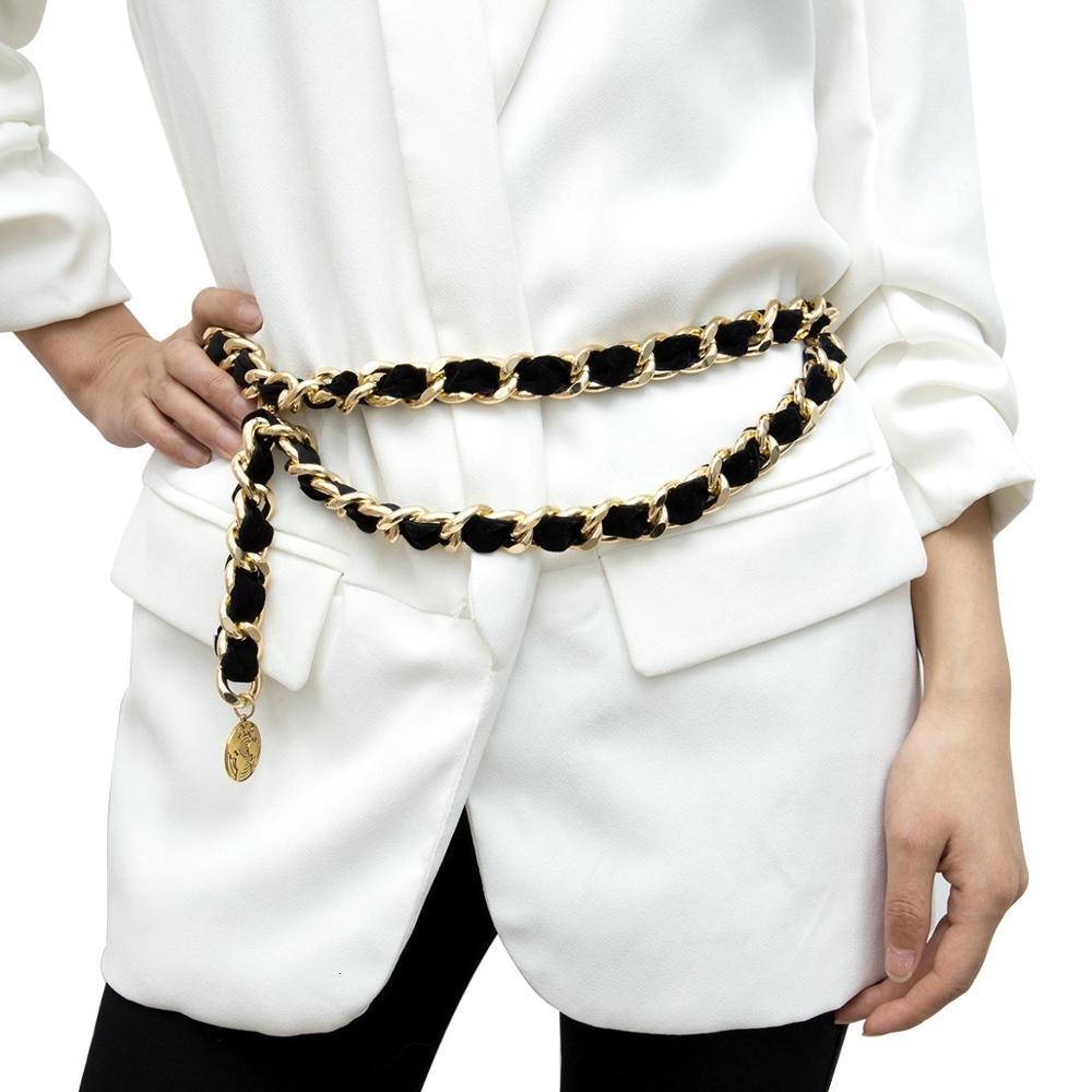 Tassel Flanelle Ceinture d'or Ladies Designer Vintage Exaggerated Flocage taille chaîne de luxe Femme en alliage chaîne métal ceinture pour les femmes Y191130